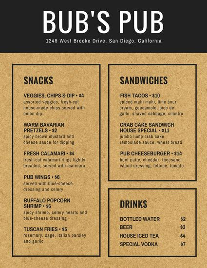 Brown Paper Background Pub Menu Templates By Canva Newspaper Menu Template