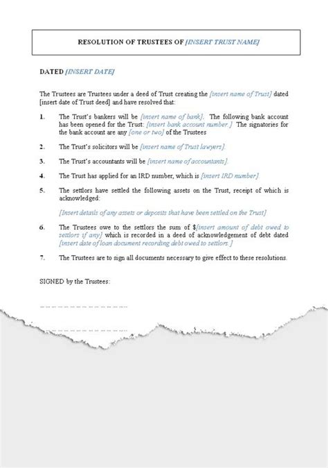 trustee resolution template wills trusts trusts new zealand documents