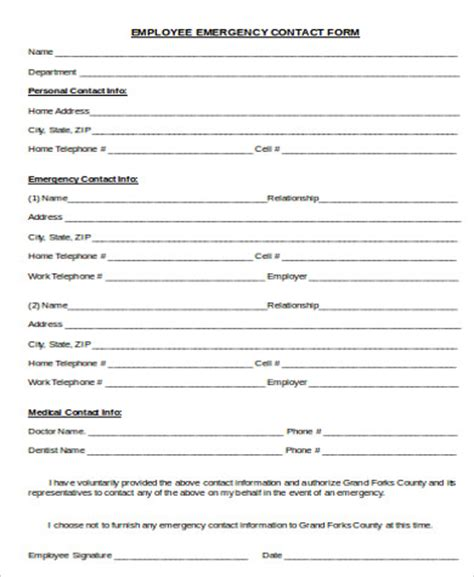 7 Sle Employee Emergency Contact Forms Sle Templates Free Emergency Contact Form Template For Employees