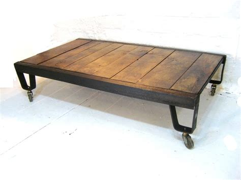 Industrial Coffee Table Natural Wood And Iron Metal Vintage Industrial Coffee Table