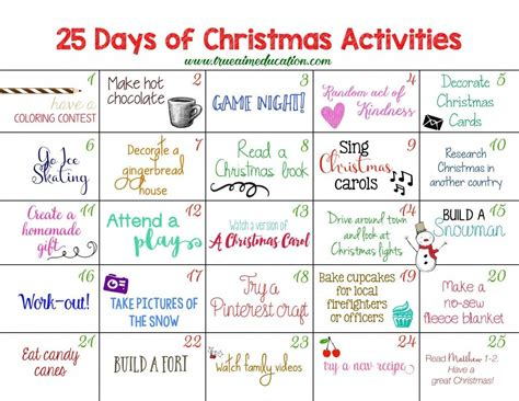 printable calendar ideas 25 days of christmas activities advent calendar advent