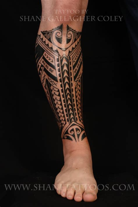 polynesian tribal leg tattoos shane tattoos polynesian calf