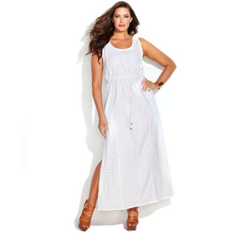white maxi dress plus size michael kors michael plus size sleeveless eyelet