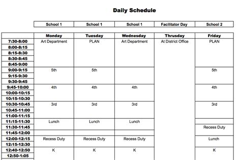 best photos of daily class schedule template teacher