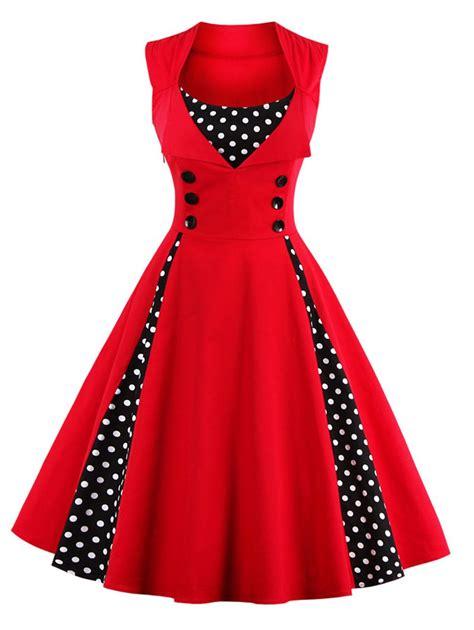 Dress Natal Cherry polka dot midi prom dress in s sammydress