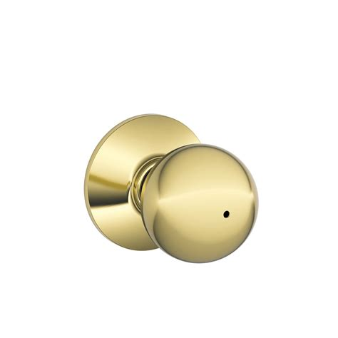 Push Lock Door Knobs by Shop Schlage F Orbit Bright Brass Push Button Lock