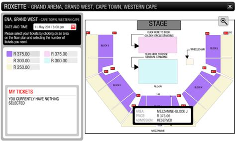 grand arena grand west floor plan concert tickets roxette world tour 2011 ticket grand