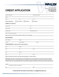 Blank Credit Application Form Pdf Wallin Industries