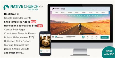 themeforest native nativechurch responsive html5 template by imithemes