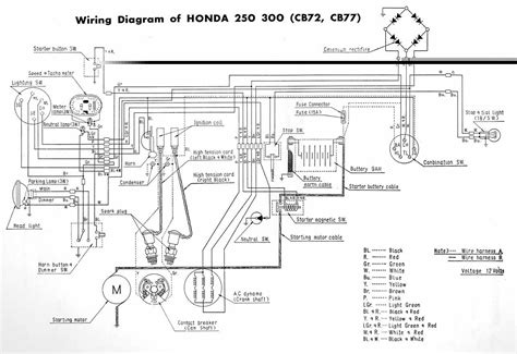 honda cb72 and cb77 electrical wiring diagram in