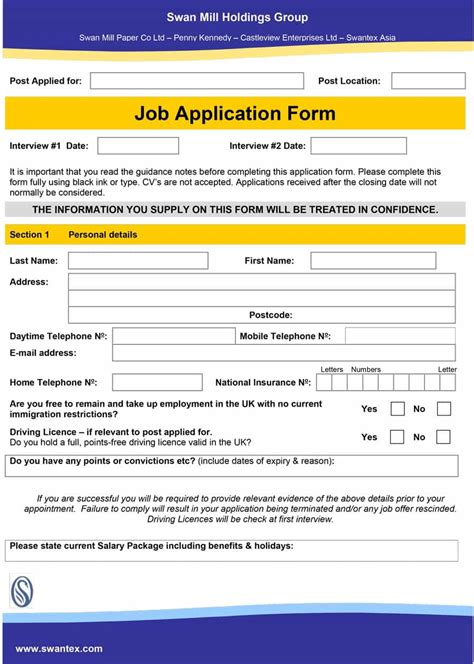 printable job application templates 50 free employment job application form templates