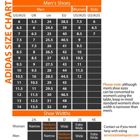 adidas boost size chart