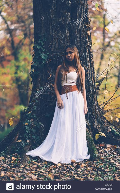 beautiful wiccan portrait of beautiful wiccan in the forest stock