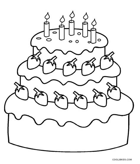 printable birthday cake coloring pages  kids
