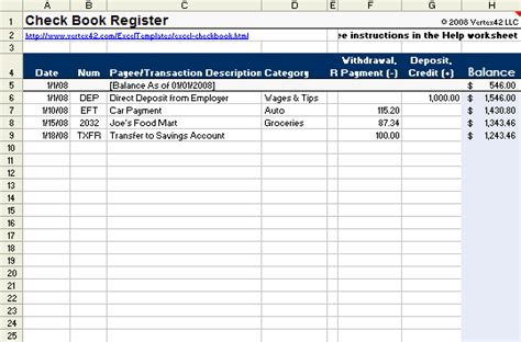 Checkbook Register Template For Excel From Vertex2 I Love This Site They Have A Lot Of Great Check Register Template Excel
