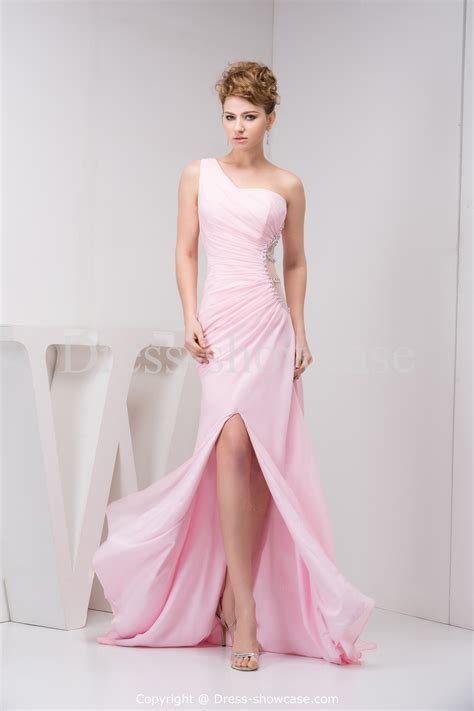 light pink evening gown one shoulder light pink prom dresses sang maestro