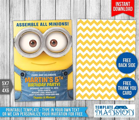 Minions Birthday Invitation 3 By Templatemansion On Deviantart Minion Birthday Invitations Templates Free
