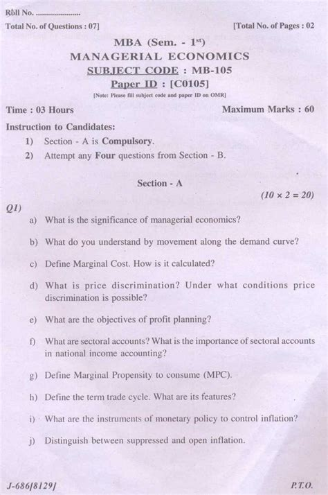 Managerial Economics For Mba Students by Mba 1st Year Managerial Economics Solved Question Paper