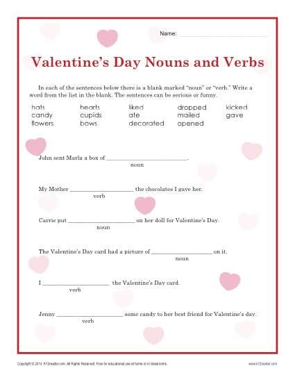 valentines reading comprehension worksheet s day nouns and verbs worksheet for 2nd grade