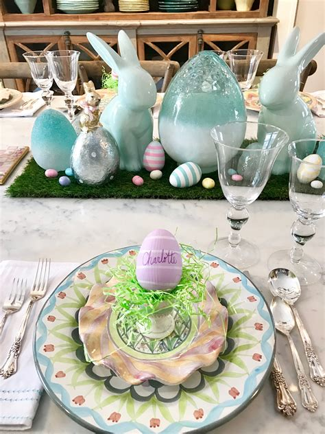wonderful Farmhouse Interior Paint Colors #3: HomeGoods_Easter_eggs_turquoise_glass_painted_Rabbits_meme_hill_studio_egg_cup_tablescape.jpg
