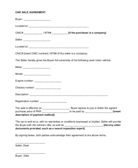 Sle Agreement Letter For Buying A Car Car Sale Contract 9 Free Documents In Word Pdf