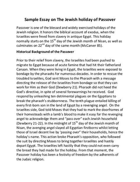 Essay For My Hometown by Sle Essay On The Of Passover
