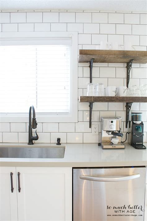 kitchen open shelves clock pendant l plates cups sink faucet rustic industrial kitchen shelves so much better with age