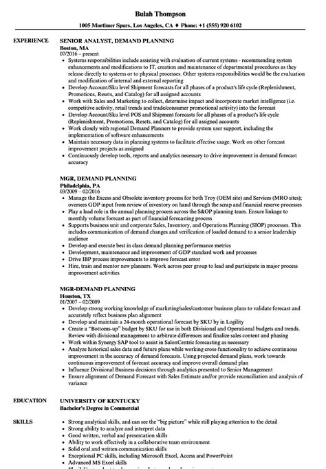 demand planner resume sle demand planner resume resume ideas