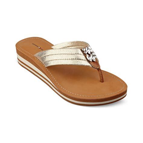 hilfiger sandals hilfiger roxanne wedge sandals in gold lyst