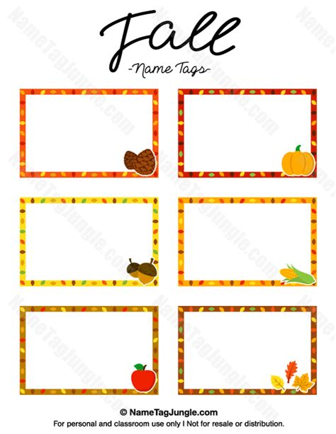 Printable Autumn Name Tags | free printable fall name tags the template can also be
