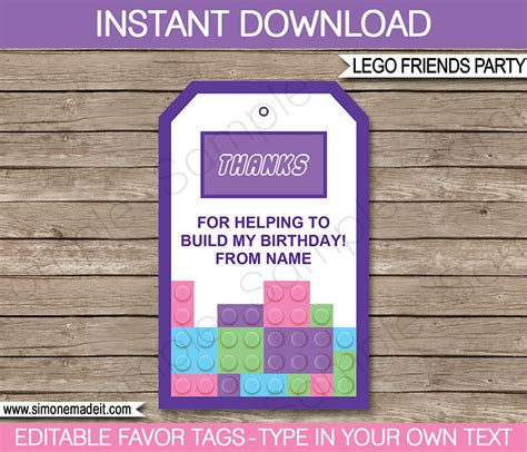 lego friends card template lego friends favor tags thank you tags birthday