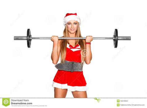fitness christmas pics fitness model with barbell stock photo image of healthy 34510942
