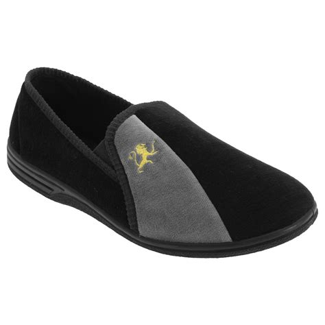 indoor slippers zedzzz mens aaron gusset velour loafer slip on