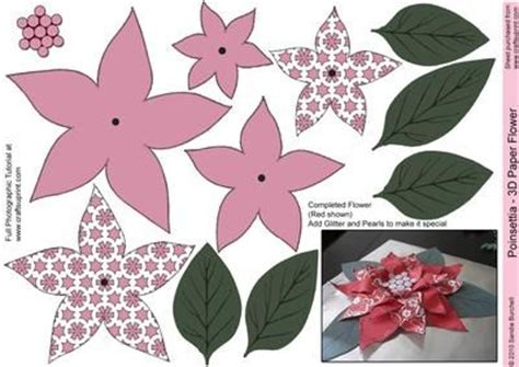 deep pink poinsettia 3d paper flower glass pinterest