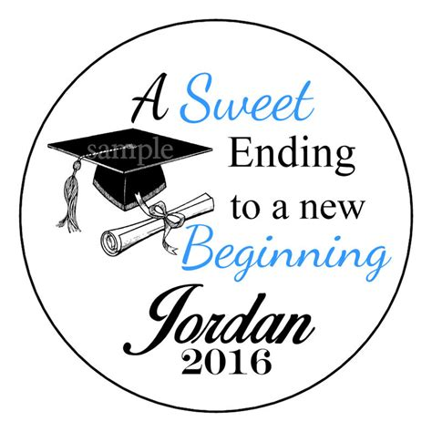 graduation labels template free 2017 graduation favor sweet ending personalized