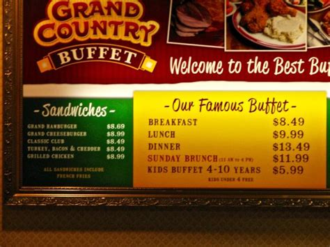 grand country buffet is easy to find even at night