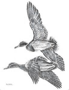 flying mallards pencil sketch by terry redlin wild wings
