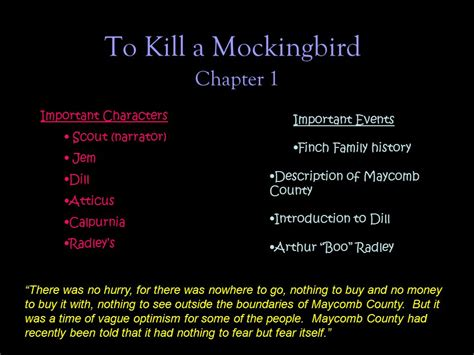 to kill a mockingbird key themes and quotes to kill a mockingbird chapter 1 important characters