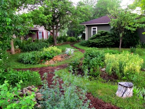 Berm House by Front Yard Rain Garden And Berm Midwest Permaculture