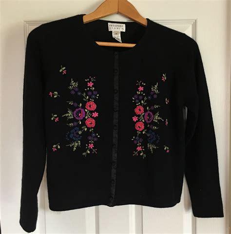 Flower Black Sweater 1 freeport studio ll bean black cardigan sweater embroidered flowers size m sweaters