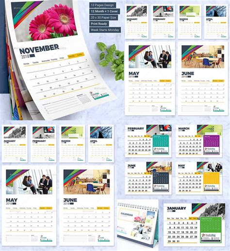 2018 calendar design template wall and desk free download