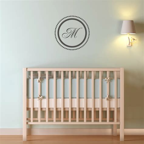 monogrammed wall stickers circle with dots monogram wall decal sticker graphic