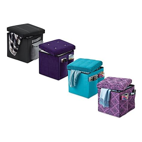 sit and store ottoman sit and store folding storage ottoman bedbathandbeyond com