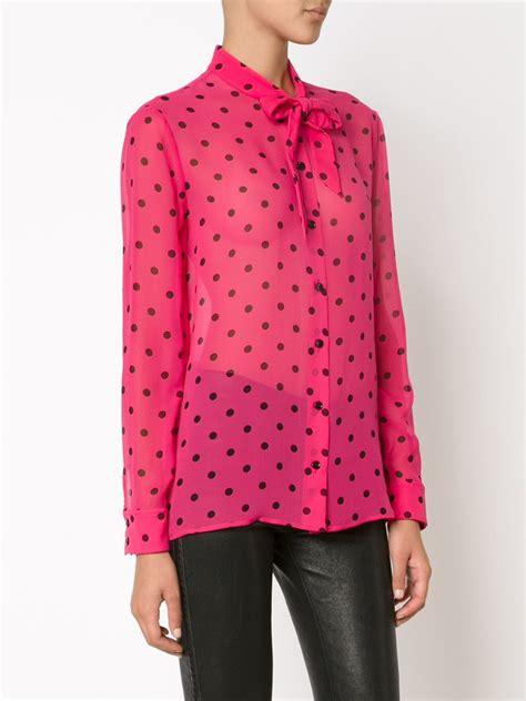 the b club print blouse pink laurent polka dot print shirt in pink lyst