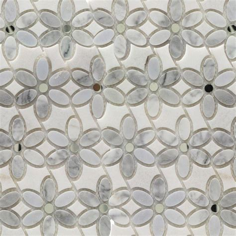Marble Mosaic Floor Tile Splashback Tile Steppe Mutisia White Thassos Marble Waterjet Mosaic Floor Wall Tile 3