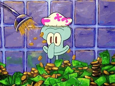 squidward bathtub money shower gif money shower squidward discover