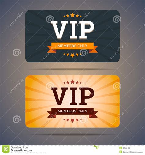 vip club card design templates in flat style stock vector