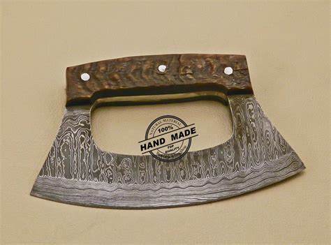 Handmade Decorative - damascus ulu kitchen knife custom handmade kitchen