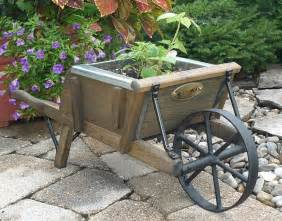 Rustic Wheelbarrow Planter by Wooden Wheelbarrow Mini Rustic Grade Stain Amish