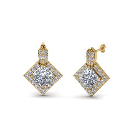 princess cut halo earring fascinating diamonds